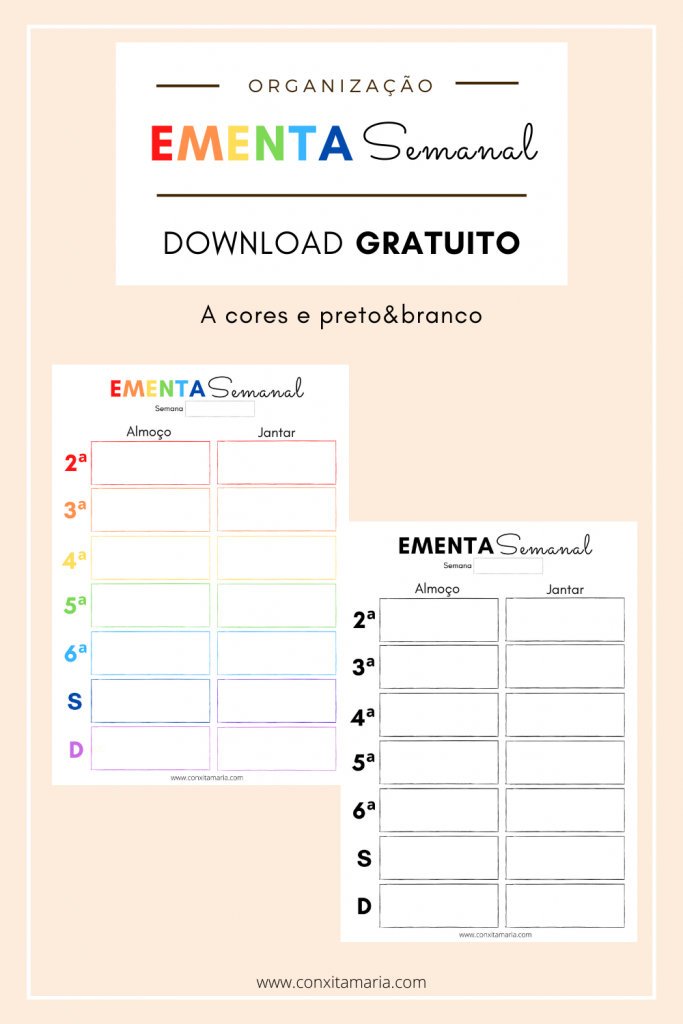 Ementa semanal download gratuito
