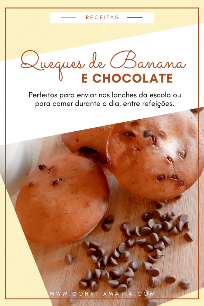 Queques de banana e chocolate